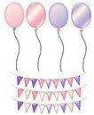 Pink & Purple Balloons and Banners Stock Photography