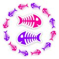 Pink and purple fish bone stickers background with blue gray with shadow Stock Photos
