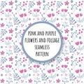 Pink and purple flowers and foliage seamless pattern