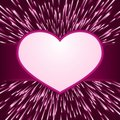 Pink purple light burst, fireworks with heart fram Royalty Free Stock Photo