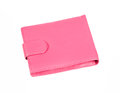 Pink purse with snap fastener isolated on white background Royalty Free Stock Photo