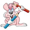 Pink rabbit and crayons Stock Images