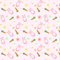 Pink Rabbit cute with carrot scatter pattern concept using for k