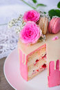 Pink raspberry cake Royalty Free Stock Photo