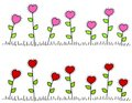 Pink Red Heart Shaped Flower Borders