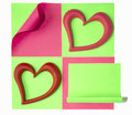 Pink and red heart two hearts on a green sticker Royalty Free Stock Photos