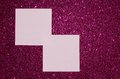 Pink reminder notes on purple glitter background with empty space for text Stock Photography