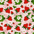 Pink repeating pattern with a strawberry Stock Photography