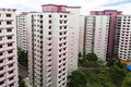 Pink residential estate a high angle view of a with color theme singapore Stock Photo