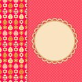 Pink retro card leaf flower pattern part round vignette Royalty Free Stock Photo