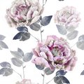 Pink retro grey flowers of peony. Seamless flower pattern