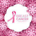 Pink ribbon sign and Breast Cancer AWARENESS text on white circle banner and pink abstract flower background vector design Royalty Free Stock Photo