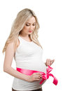 Pink ribbon young pregnant woman with white background Stock Image