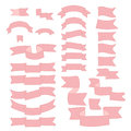 Pink ribbons, big set of hand drawn design element, flag, arrow, banner, label  on white Royalty Free Stock Photo