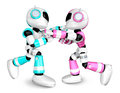 Pink robots sky blue robot boxing matches create d humanoid robot series Royalty Free Stock Photos