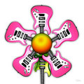 Pink Rock Guitar Flower Stock Image