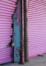 Pink roll up door down the jersey shore Stock Photography