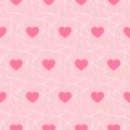 Pink romantic background with hearts and imitation nest seamless - vector