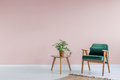 Pink room with green armchair Royalty Free Stock Photo