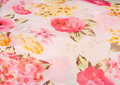 Pink rose on cloth printed chiffon Stock Photo