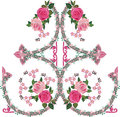 Pink rose decorated ornamental pattern illustration with ornament element Stock Photography