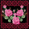 Pink rose decoration in dark frame pattern Royalty Free Stock Image
