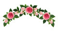 Pink rose flowers and buds arch arrangement Royalty Free Stock Photo