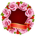 Pink Rose Frame in the shape of round Stock Photography
