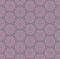Pink rose geometry line seamless pattern. Royalty Free Stock Photo