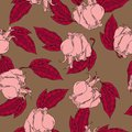Pink rose and red leaf pattern. Hand drawn vector illustration.