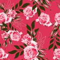 Pink rose and simple leaves. Floral botanical flower. Seamless background pattern.