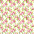 Pink roses bouquets. Watercolor illustration. Seamless pattern design paper.