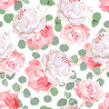 Pink roses, carnation, peony and eucaliptus leaves seamless vector pattern