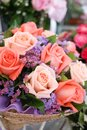 Pink roses. A closed up of flower bouquet with selective focus on the pink rose, flowers for surprise on Valentines, birthday and Royalty Free Stock Photo