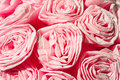 Pink roses from crepe paper decorative flowers closeup celebrations decor Royalty Free Stock Photos