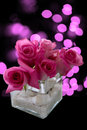 Pink roses flower arrangement in vase with abstract lights in background Royalty Free Stock Photography
