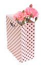 Pink roses in a gift bag isolated on white background Royalty Free Stock Photo