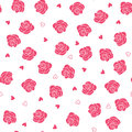 Pink roses and hearts scattering seamless vector pattern eps Royalty Free Stock Photography