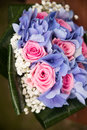 Pink roses and hydrangea close up. Flowers Royalty Free Stock Photo