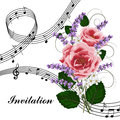 Pink roses with music notes. Royalty Free Stock Photo