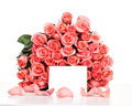 Pink roses with note paper Royalty Free Stock Photo