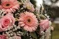 Pink roses and pink gerbera