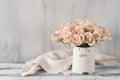 Pink roses in vintage vase Royalty Free Stock Photo