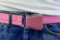 Pink safety belt buckle Royalty Free Stock Photography