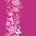 Pink sakura kimono blossom vertical seamless vector pattern background ornament with vibrant asian style flowers on magenta Royalty Free Stock Images