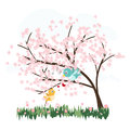 Pink sakura trees with love birds vector Royalty Free Stock Photo