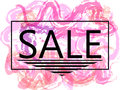 Pink sale off sign over grunge brush art paint abstract texture background design acrylic stroke poster. Perfect watercolor design Royalty Free Stock Photo