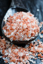 Pink salt from the himalayas Stock Photo