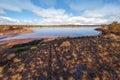 Pink Salt Lake Hardy panorama, Australia Royalty Free Stock Photo