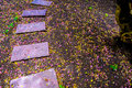 Pink sand stone walkway on colorful ground full with flowers drop on the rain day. Royalty Free Stock Photo